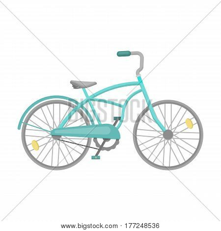 Blue two-wheeled bicycle for a ride through the city. Pleasure of transport.Different Bicycle single icon in cartoon style vector symbol stock web illustration.