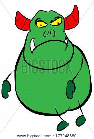 cute fat green horned monster vector illustration