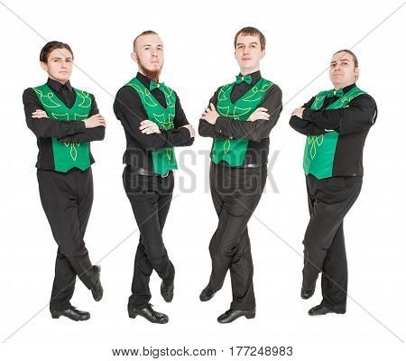 Group of irish dancers isolated on white