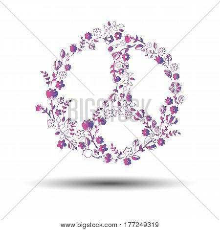 peace sign symbol flower vector pacifism circle drawing abstract creative illustration art icon
