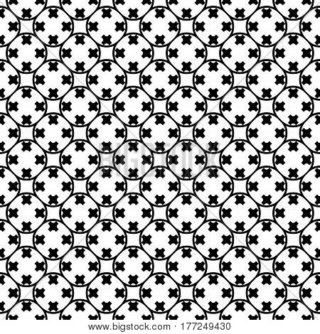 Vector monochrome texture. Simple black & white geometric background. Illustration of rounded lattice with crosses. Abstract ornamental seamless pattern. Repeat tiles. Design for prints, decor, textile, fabric, cloth, cover, digital, web