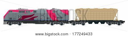 Pink Locomotive with Hopper Car for Transportation Freights, Train Isolated on White Background, Railway and Cargo Transport ,Vector Illustration