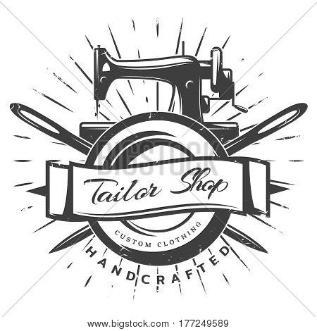 Vintage black tailor label template with inscription sewing machine and crossed needles on white background vector illustration