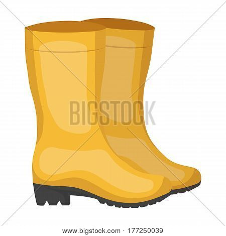 Yellow rubber waterproof boots for women to work in the garden.Farm and gardening single icon in cartoon style vector symbol stock web illustration.