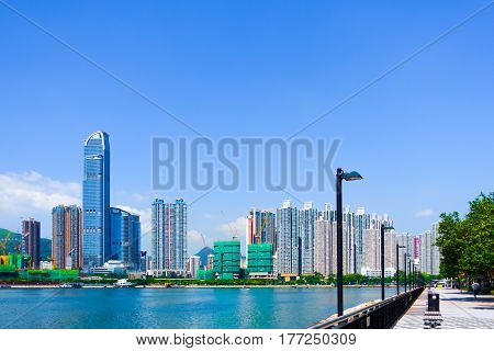 Office and apartment buildings and waterfront promenade with blue sky as a background and copy space