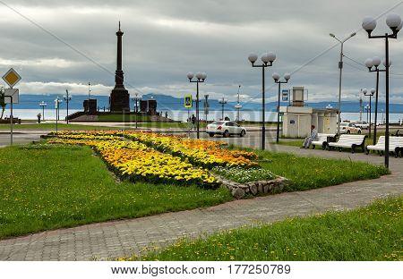 Petropavlovsk-Kamchatsky, Russia - August 13, 2016: Stela City of Military Glory in Petropavlovsk-Kamchatsky.
