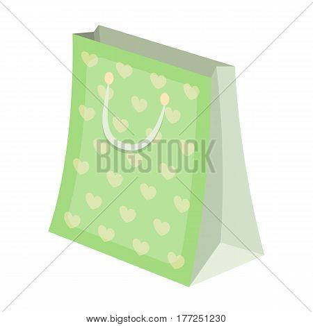 Gift package with beautiful patterns, stars and handles in the form of ropes.Gifts and Certificates single icon in cartoon style vector symbol stock web illustration.