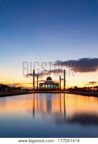 Beautiful sunset of Central Songkhla Mosque Thailand.