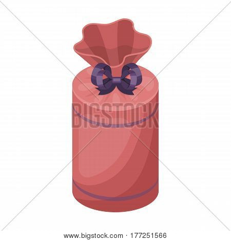 Gift wrap in the form of a huge candy in a wrapper.Gifts and Certificates single icon in cartoon style vector symbol stock web illustration.