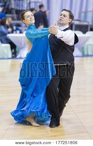 Minsk Belarus-February 18 2017: Senior Dance Couple of Gruzdilovich Vyacheslav and Gruzdilovich Irina Performs European Standard Program on WDSF Minsk Open Dance Festival-2017 Championship in February 19 2017 in Minsk Belarus