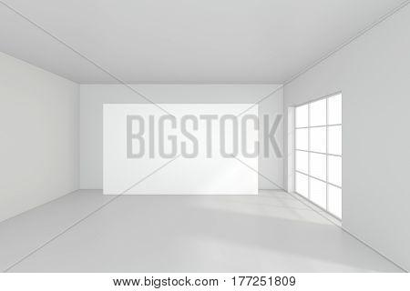 Horizontal blank billboard in white room. 3d rendering.