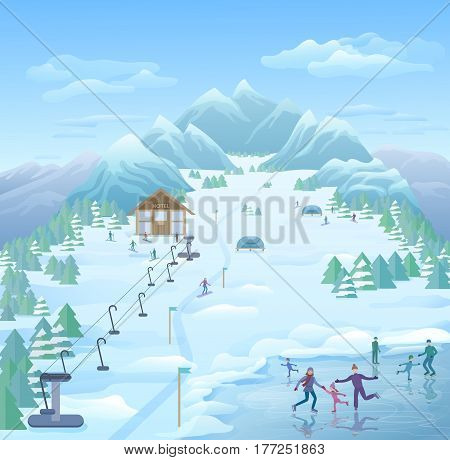 Winter reacreational park template with skating skiing snowboarding tourists on snowy forest and mountain landscape vector illustration