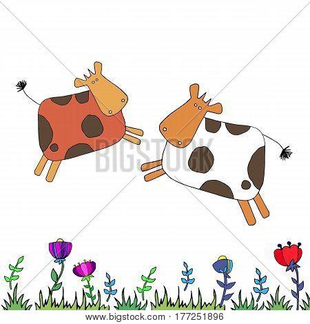 cow vector farm dairy animal illustration cattle cartoon mammal milk