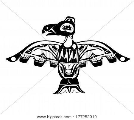 totem bird indigenous art stylization on white background with native ornament