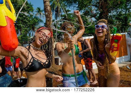 Ko Phangan - APR 16 2016: people joins celebrations of the Thai New Year or Songkran in Ko Phangan on Apr 13, 2016