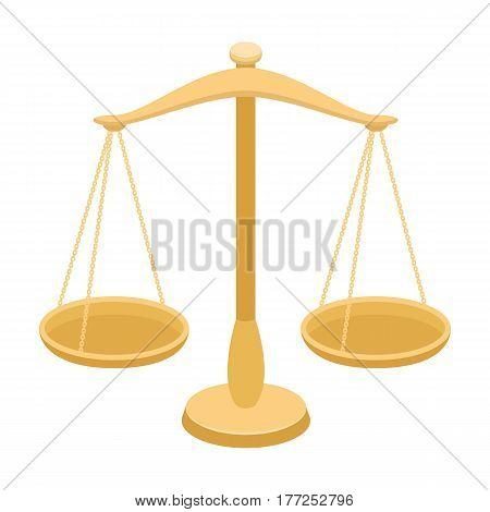 Scales for jewelry. Weights for measuring punishment.Prison single icon in cartoon style vector symbol stock web illustration.