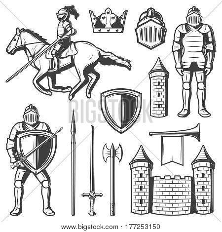 Vintage mediaval elements set with standing and riding horse knights in armor and weapon crown shield horn fortress isolated vector illustration
