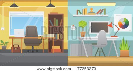 Office interiors horizontal banners. Bussines workplace with computer and table flat modern design