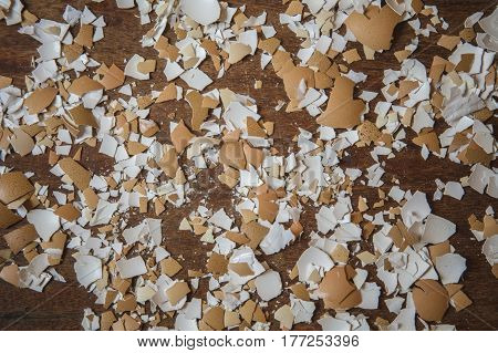 Pieces of eggshell. Many tiny details of eggshell , wood background