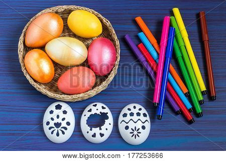 Drawing on Easter eggs with using stencils. Children's art project. DIY concept. Step-by-step photo instruction. Step 1. Preparation of materials and tools