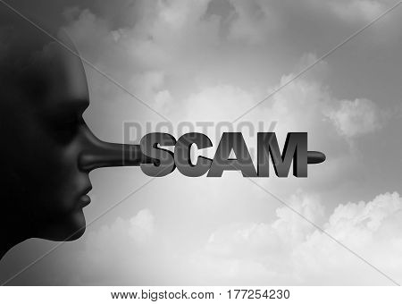 Scam concept as a scamming person with a liar pinocchio long nose with text as a symbol for criminal dishonesty with 3D illustration elements.