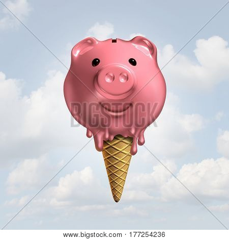 Summer savings concept as a melting piggy bank icecream on a cone as a hot fun financial symbol or feeling the economic heat icon and vacation budget as a 3D illustration.