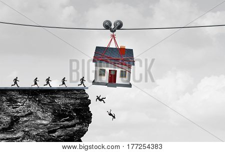 Real estate trap and housing danger or the risk of owning a home concept as people being lead off a cliff by a family house as a symbol for residential financial debt or renovation money pit with 3D illustration elements.