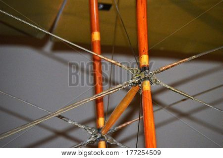 horizontal shot with crisscross angle of plane support frame