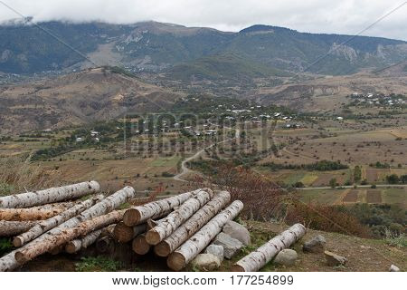 A pile of cut logs of a mountain landscape. landscape mountains. Stack of firewood