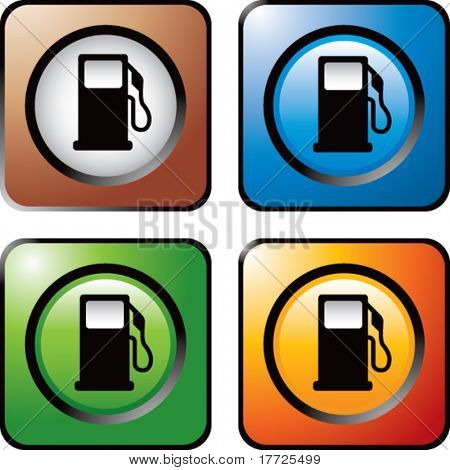 gas pump icon colored square web icons