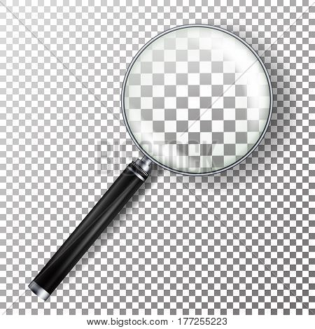 Realistic Magnifying Glass Vector. Isolated On Checkered Background Illustration. Magnifying Glass Object For Zoom With Lens For Magnifying