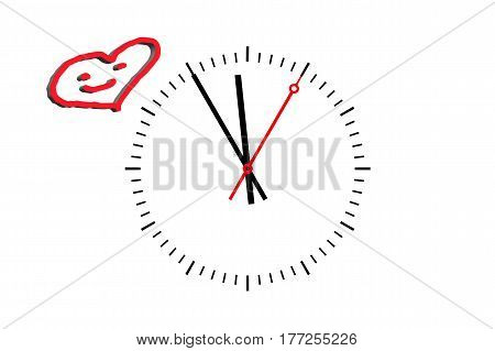 Clock Digits sheet with hour hand minute hand and a red second hand indicates the time 5 before 12. Copy space on white background.
