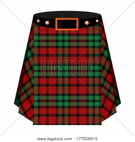 Scottish tartan kilt.The men s skirt for the Scots.Scotland single icon in cartoon style vector symbol stock web illustration.
