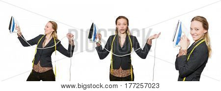 Woman tailor isolated on white