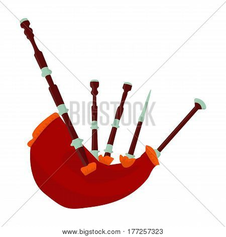 Bagpipes from a cow s stomach.The national musical instrument of Scotland.The Symbol Of Scotland.Scotland single icon in cartoon style vector symbol stock web illustration.