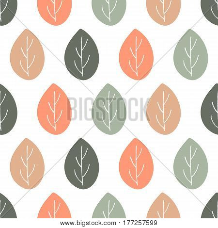 Seamless nature vector pattern. Orange brown and green leaves with twigs on white background. Hand drawn ornament