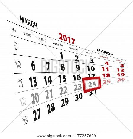 24 March Highlighted On Calendar 2017. Week Starts From Monday.