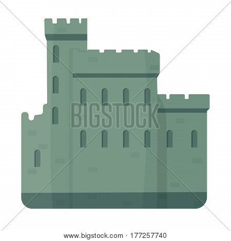Concrete castle with peaks in Scotland.Fortification of the ancient Scots.Scotland single icon in cartoon style vector symbol stock web illustration.
