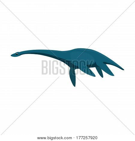 Blue Loch ness monster.The monster of lake Loch ness in Scotland.Scotland single icon in cartoon style vector symbol stock web illustration.