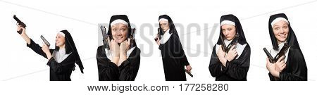 Nun with gun isolated on white