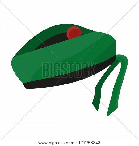 Scottish National traditional cap or beret with bubo and green checkered pattern in red colors.Scotland single icon in cartoon style vector symbol stock web illustration.