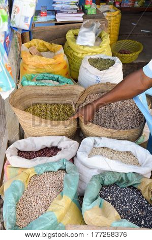 Display of spices of all colors on the spice market in Mombasa Kenya