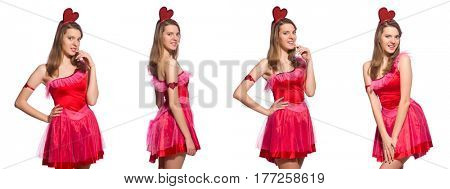 Girl in pretty pink dress isolated on white