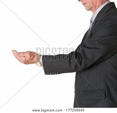 Senior caucasian businessman or executive isolated against white background. Subject is in side view and holding both hands out for something