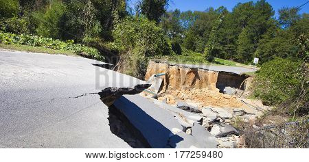 Road washed completely out near Raeford North Carolina after Hurricane Matthew