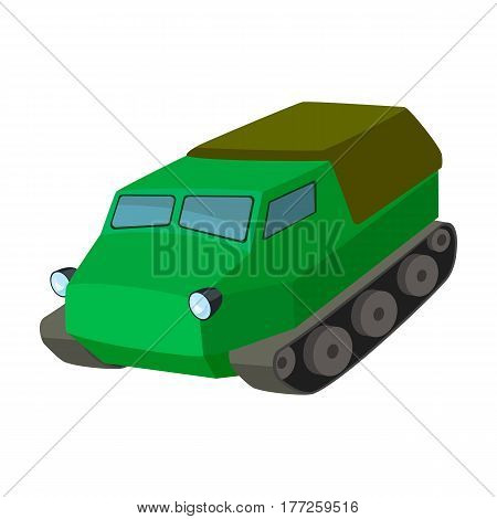 Tank for the marshes. Caterpillar transport of military.Transport single icon in cartoon style vector symbol stock web illustration.