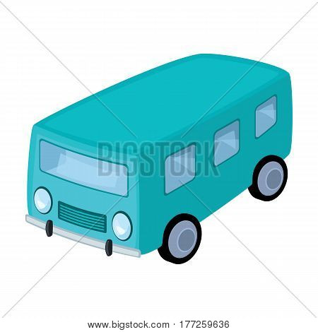 Blue bus for the transportation of a small number of people around the city and the village.Transport single icon in cartoon style vector symbol stock web illustration.