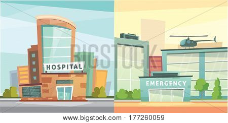 Set Hospital building cartoon modern vector illustration. Medical Clinic building and city background. Emergency room exterior