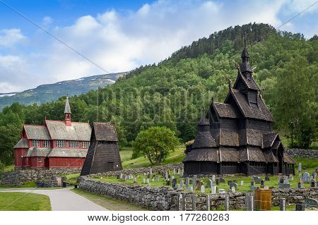 Borgund Stave Church - one of the oldest wooden churches in Norway. Popular touristic attraction. Borgund, Laerdal, Norway.