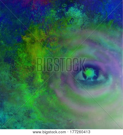 Illustration of a third eye mystical sign , raster